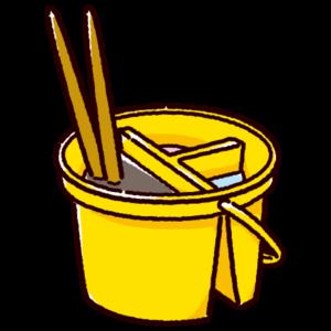 筆洗いバケツのイラスト(丸・筆)