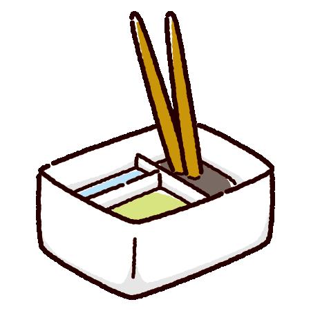 筆洗いバケツのイラスト(角)(2カット)