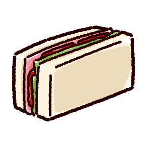 サンドイッチのイラスト(ハムサンド)(2カット)