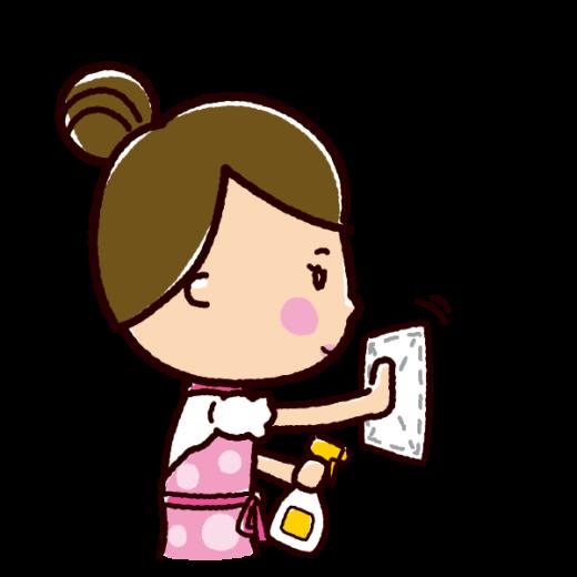 掃除のイラスト(壁掃除・女性)(2カット)