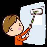 掃除のイラスト(壁掃除・男性)
