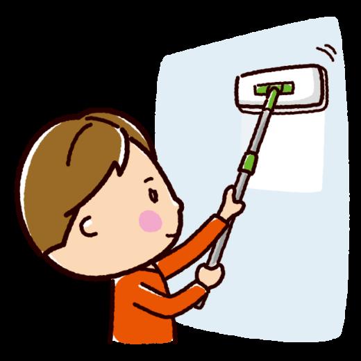 掃除のイラスト(壁掃除・男性)(2カット)