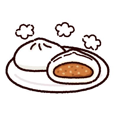 肉まんのイラスト(豚まん・中華まん)(2カット)
