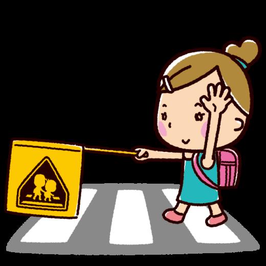 横断歩道を渡る女の子のイラスト(交通安全)(2カット)