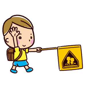 横断歩道を渡る小学生のイラスト(交通安全)