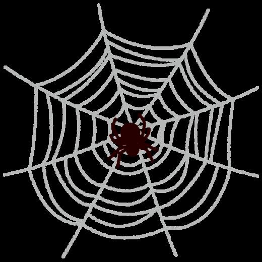 クモとクモの巣のイラスト(ハロウィン)(2カット)