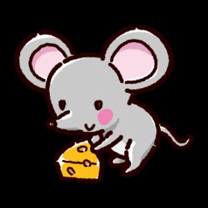 ネズミとチーズのイラスト(子)