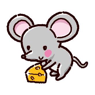 ネズミとチーズのイラスト(2020干支)(3カット)
