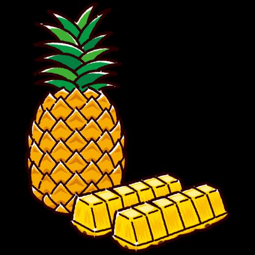 パイナップルのイラスト(3カット)