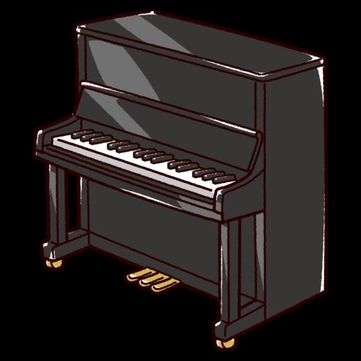 アップライトピアノのイラスト(2カラー)