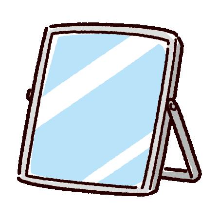 卓上ミラーのイラスト(角形鏡)