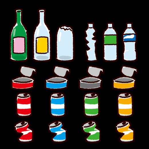 ゴミのイラスト(燃えないゴミセット・カン・ビン・ペットボトル)