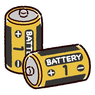 乾電池のイラスト(単一)(2カット)