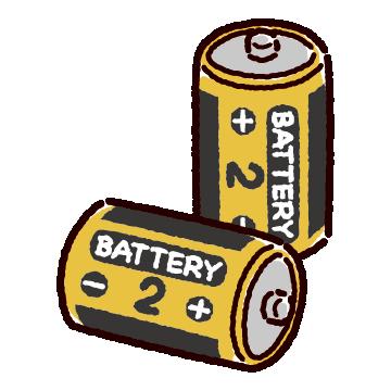 乾電池のイラスト(単二)(2カット)
