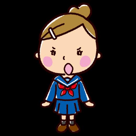 ツンのイラスト(ツンデレ・女子学生)(2カット)