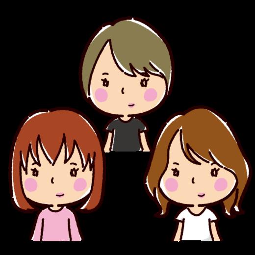 若者のイラスト(女性)(3カット)