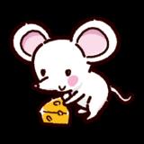 白いネズミとチーズのイラスト(子)
