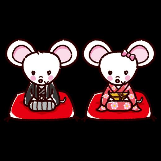 白いネズミのイラスト(紋付袴・着物・2020干支)(3カット)