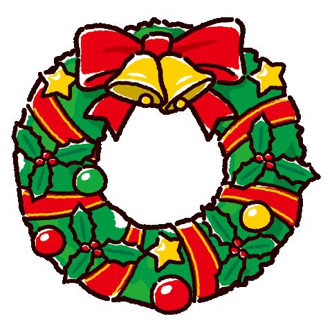 かわいいリースのイラスト(クリスマス)(2カット)