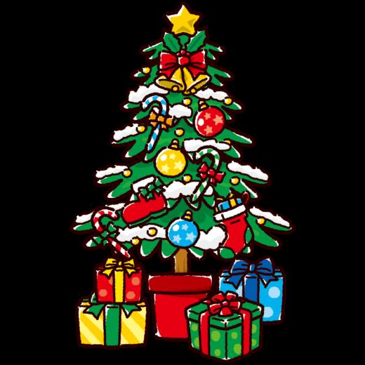 クリスマスツリーのかわいいイラスト(4カット)