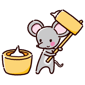 餅つきのイラスト(ネズミ)