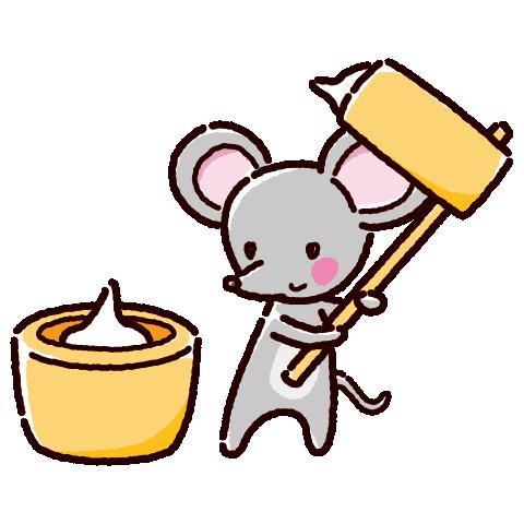 餅つきのイラスト(ネズミ・2020干支)