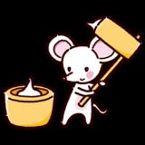 餅つきのイラスト(白ネズミ)