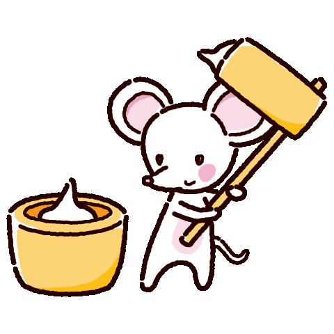 餅つきのイラスト(白ネズミ・2020干支)