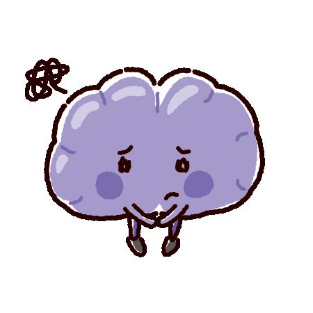 弱った脳のキャラクターイラスト(不健康な臓器)