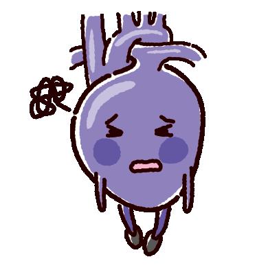 弱った心臓のキャラクターイラスト(不健康な臓器)
