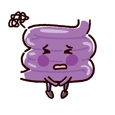 弱った小腸のキャラクターイラスト(不健康な臓器)