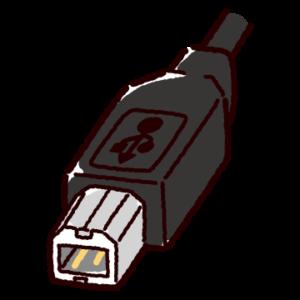 USB端子のイラスト(Type-B・コネクタ)黒