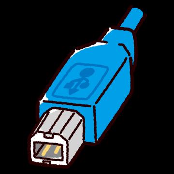 USB端子のイラスト(Type-B・コネクタ)(2カット・3カラー)