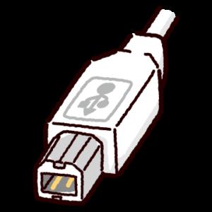 USB端子のイラスト(Type-B・コネクタ)白