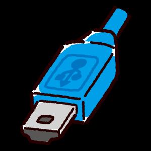 USB端子のイラスト(Mini・コネクタ)青