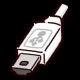 USB端子のイラスト(Mini・コネクタ)白