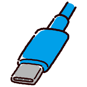 USB端子のイラスト(Type-C・コネクタ)青