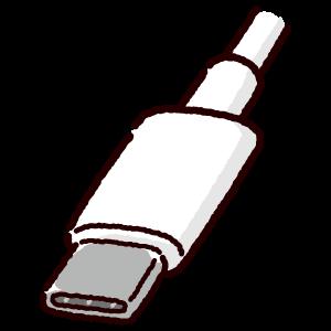 USB端子のイラスト(Type-C・コネクタ)白