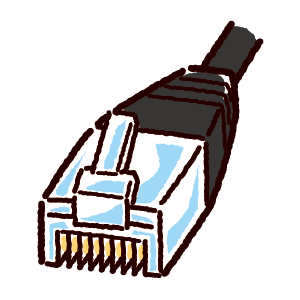 LAN端子のイラスト(コネクタ)黒