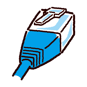 LAN端子のイラスト(コネクタ)青