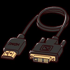 変換ケーブルのイラスト(HDMI・DVI)