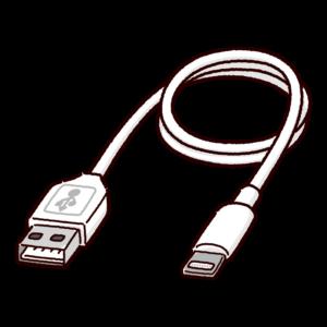 変換ケーブルのイラスト(USB-A・ライトニング)