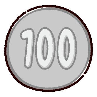 100円玉のイラスト(硬貨・お金)(4カット)