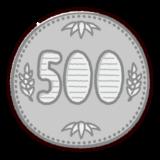 500円玉のイラスト(硬貨・お金)