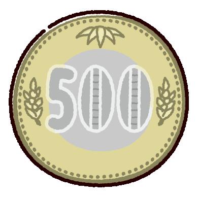 新500円玉のイラスト(硬貨・お金)(4カット)