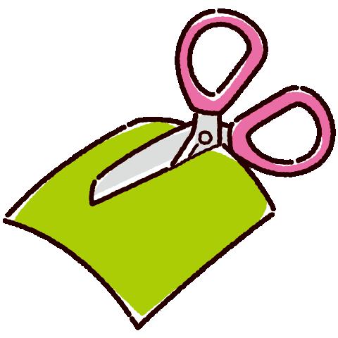 折り紙を切るハサミのイラスト(2カラー)