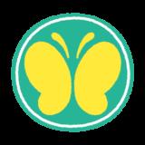 蝶マークのイラスト(聴覚障害者標識、蝶々マーク)