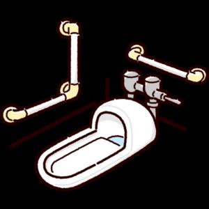 和式トイレのイラスト(便器・手すり)