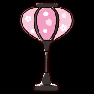 ぼんぼりのイラスト(ひな祭り・ピンク)