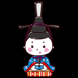 雛人形のかわいいイラスト(お内裏様・男雛・ひな祭り)